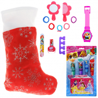 Disney Princess Kids Holiday Stocking Bundle Girls Pre-filled Toys and Gifts