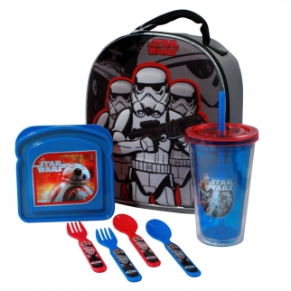 Star Wars Episode 7 The Force Awakens School Lunch Bundle With Lunchbox, Tumbler, Sandwich Container, and Flatware Set