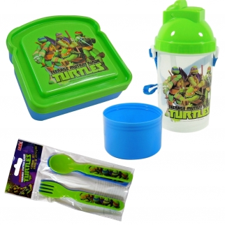 Teenage Mutant Ninja Turtles Lunch Box Kit Bundle with Featured Characters and TMNT Design Snack n' Sip Cup and Forks and Spoons
