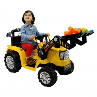 Deluxe Tractor 12V Kids Battery Powered Ride On Car in Yellow