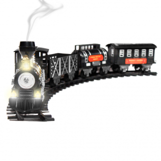 Holiday Toy Train Large Scale Classic Set Lights, Sound, and Real Smoke - Black