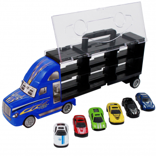 Semi truck with die-cast colored car carrier toy truck carrier race cars color boys kids toddlers indoor