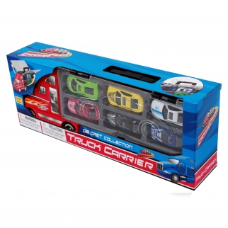 Pretend Play Truck Carrier For Children with 6 Race Cars in Multi Colors