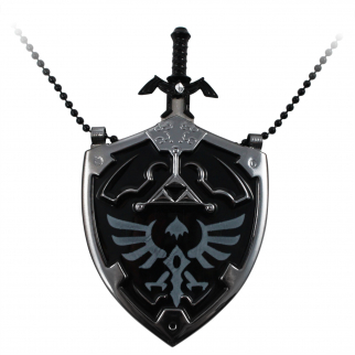 The Legend of Zelda Hyrule Shield Necklace with Removable Mini Sword Black