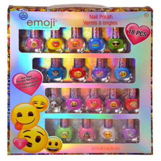 Official Emoji Character 18 PC Nail Polish Set Non-Toxic Peelable