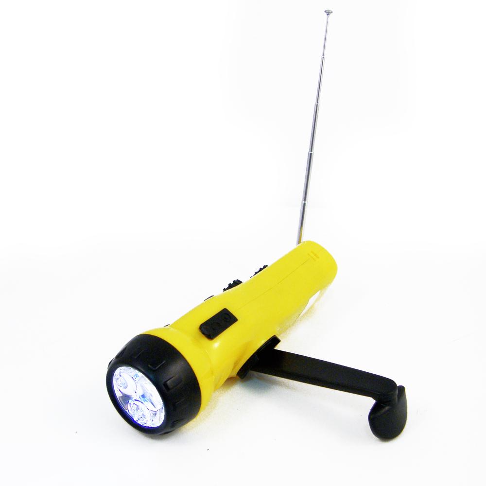 4 in 1 Dynamo Emergency AM FM Radio LED Flashlight Cell Phone Charger Port