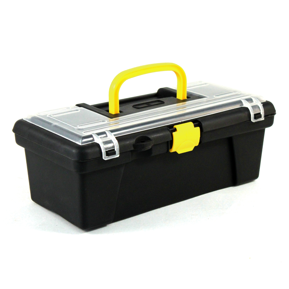 Universal Home Dual Compartment Hobby Craft Tool Box Yellow Handle