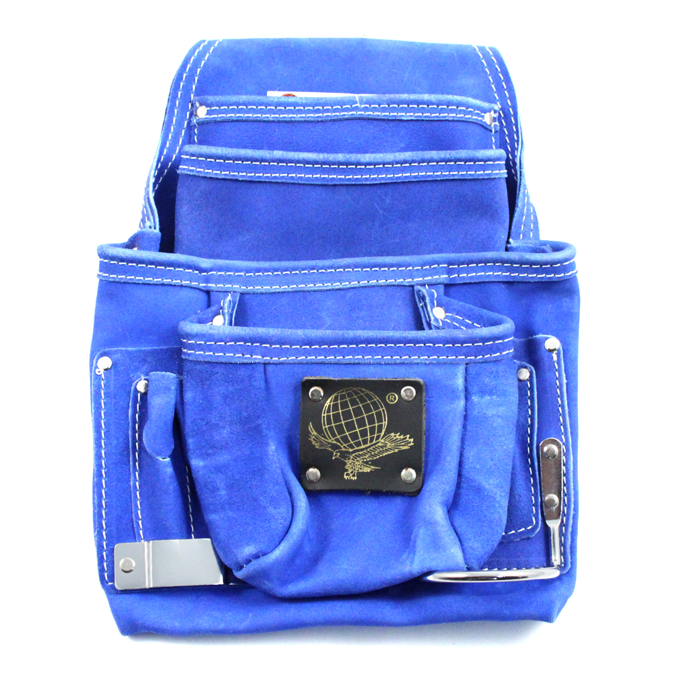 10 Pocket Tool Belt Pouch Heavy Duty Blue Suede Leather