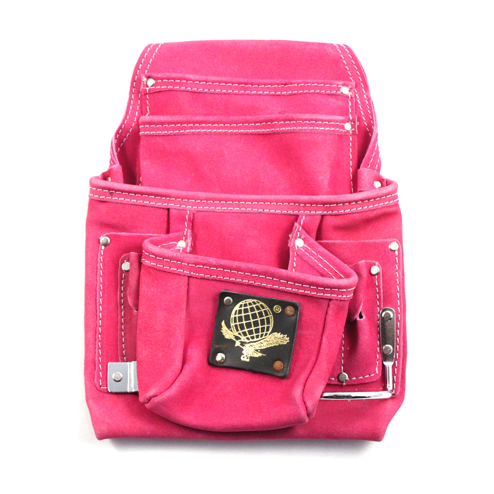 10 Pocket Tool Belt Pouch Heavy Duty Pink Suede Leather Fits Hammer And Nails