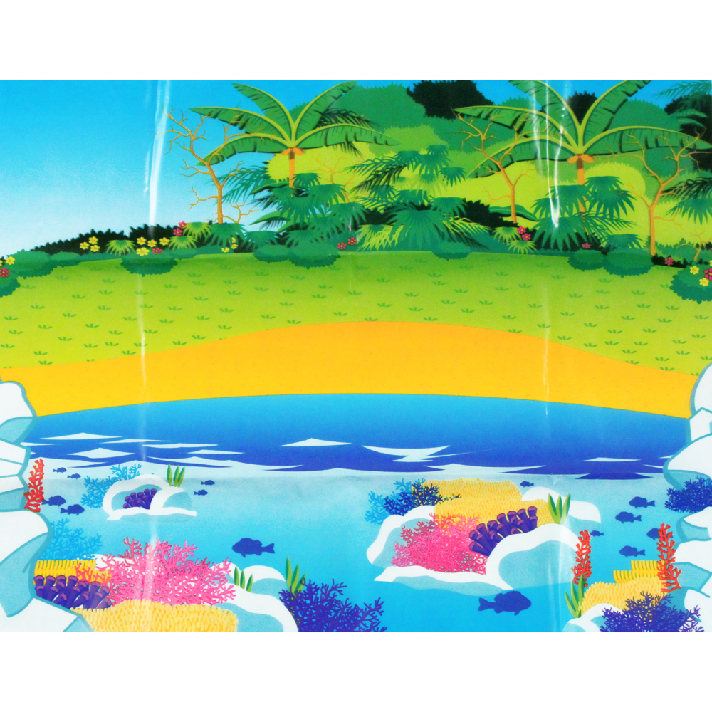 Marine Ocean Animal Toys Bucket and Coral Reef Landscape Play Mat - 20 Piece Set