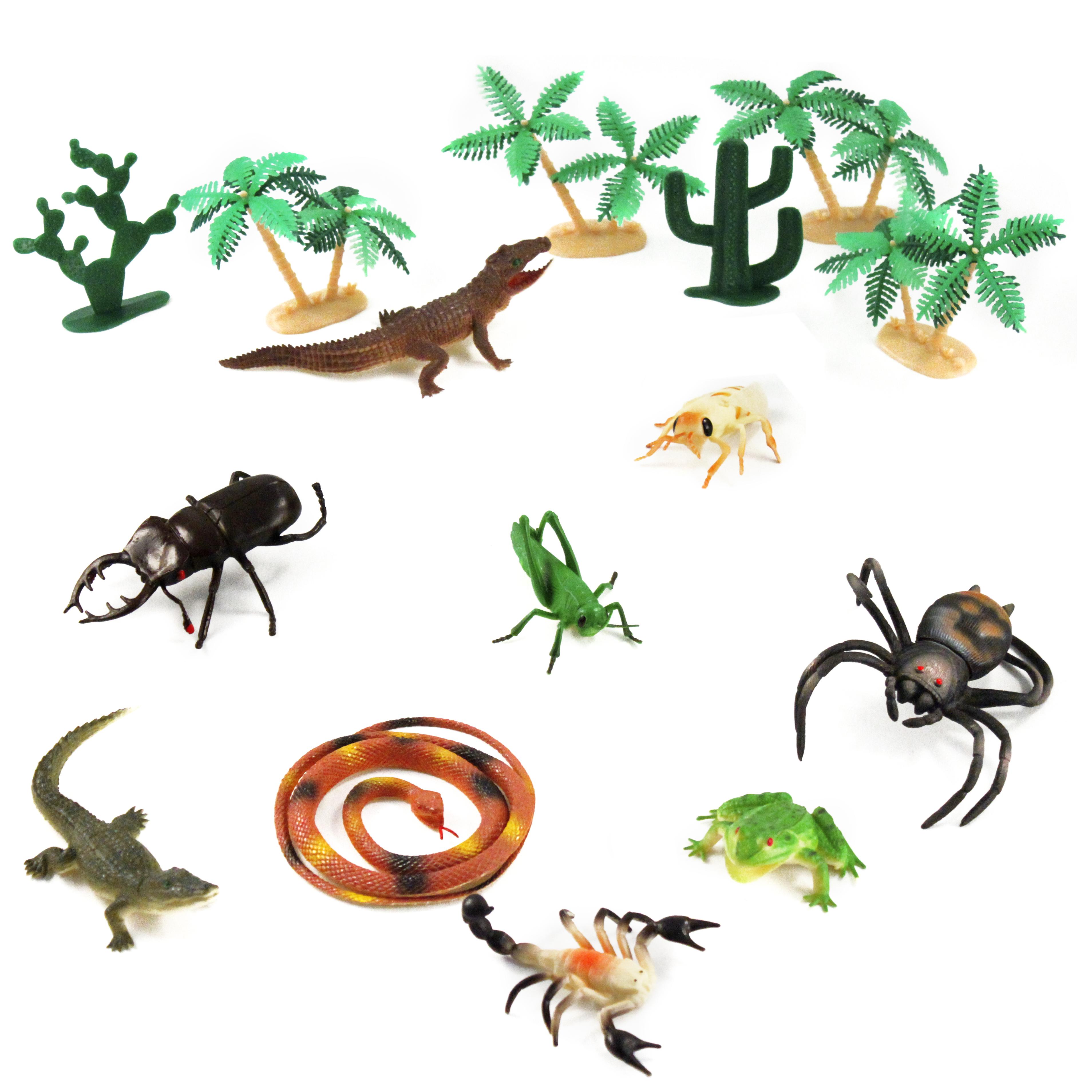 16 Piece Wetland Swamp Animals And Plants Toy Bucket Set