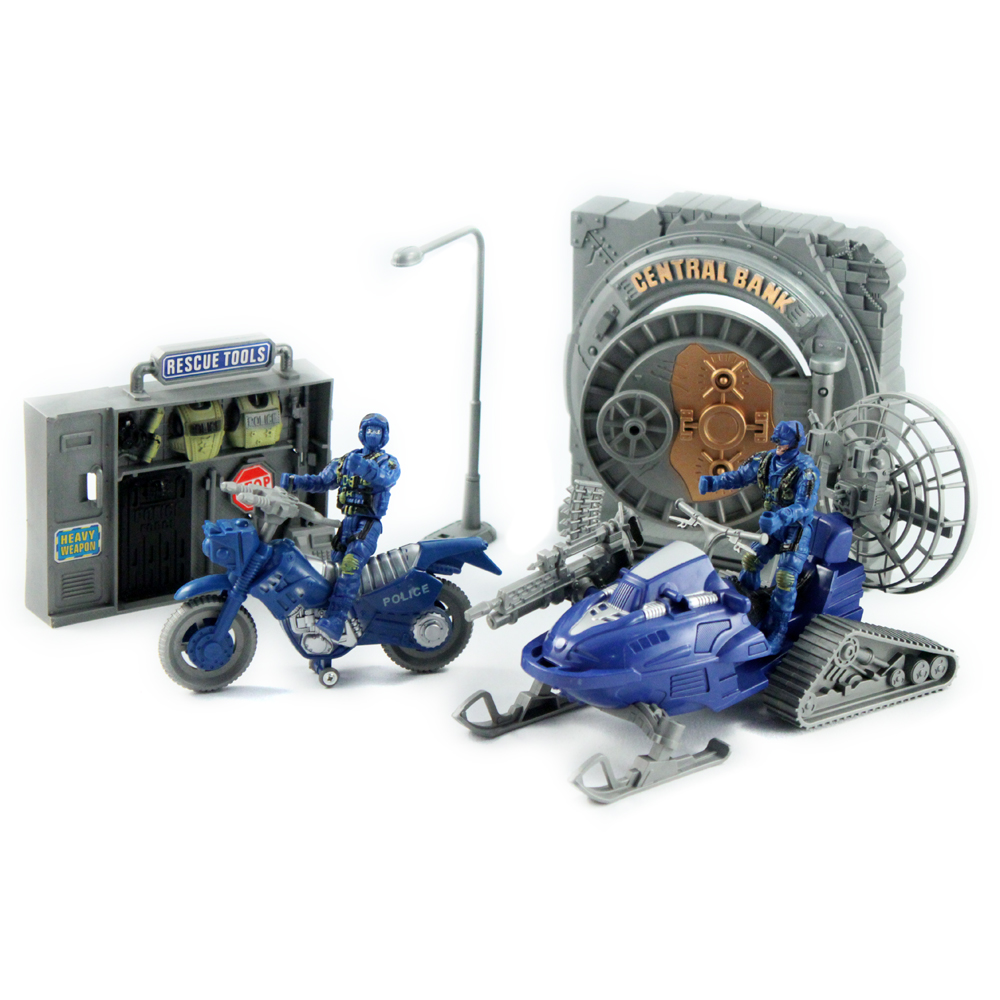 17pc Police Rescue Team Super Force Action Figure Set w/ Motorcycle & Bank Safe
