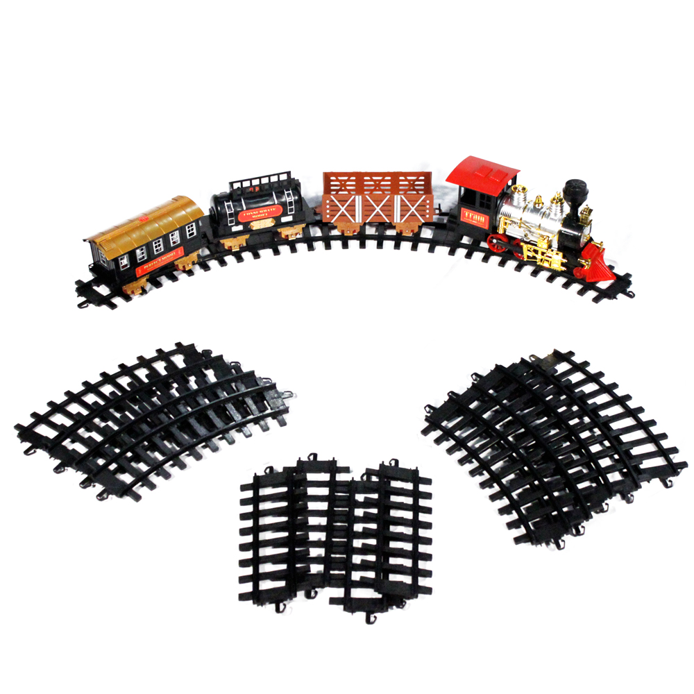 Holiday Toy Train Large Scale Classic Ready to Run Toy Train Set Lights, Sound, and Real Smoke - Black