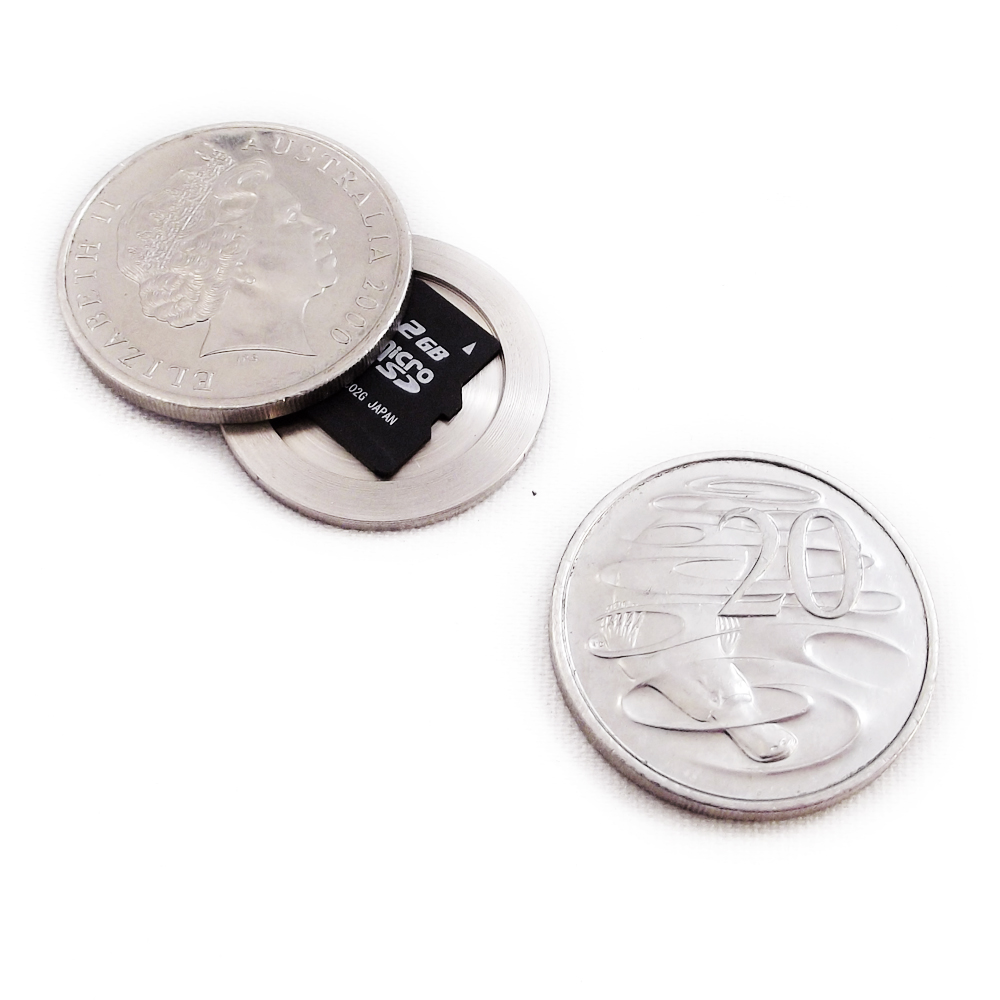 Micro SD Hollow Coin Container 20c Australian Coin