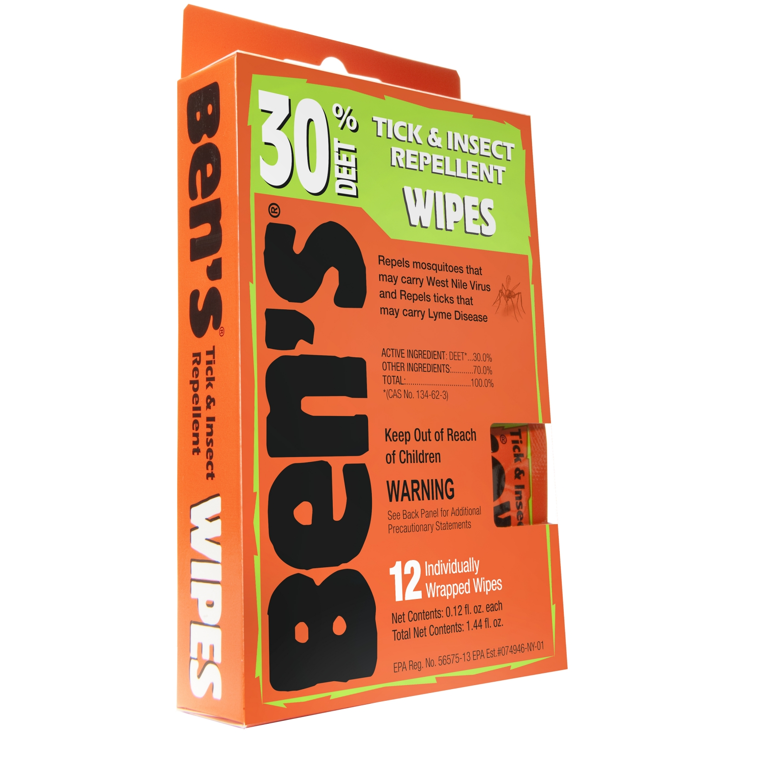 Bens 30% Wipes (1- 12 Piece Box) 0006-7085