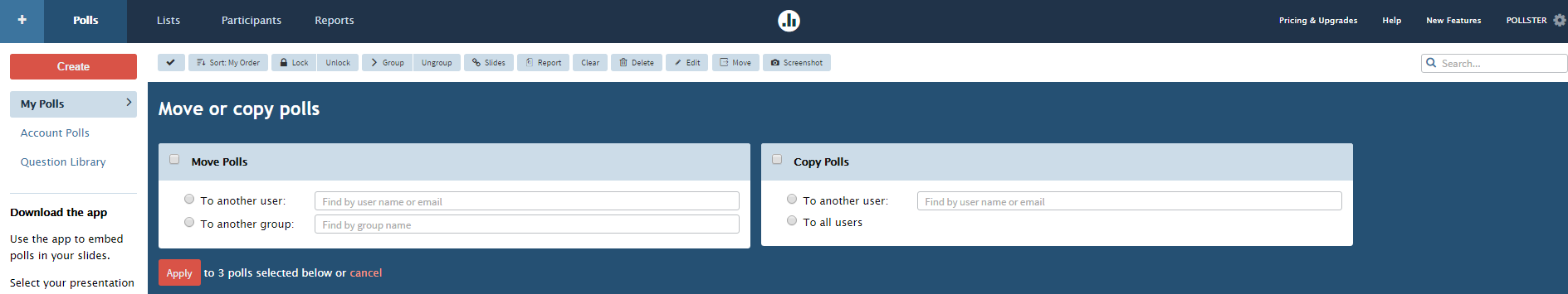 Moving multiple polls between groups or users: step 2