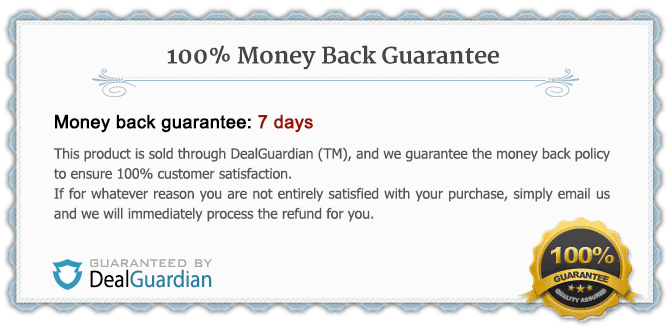 DealGuardian guarantees this product's money-back policy