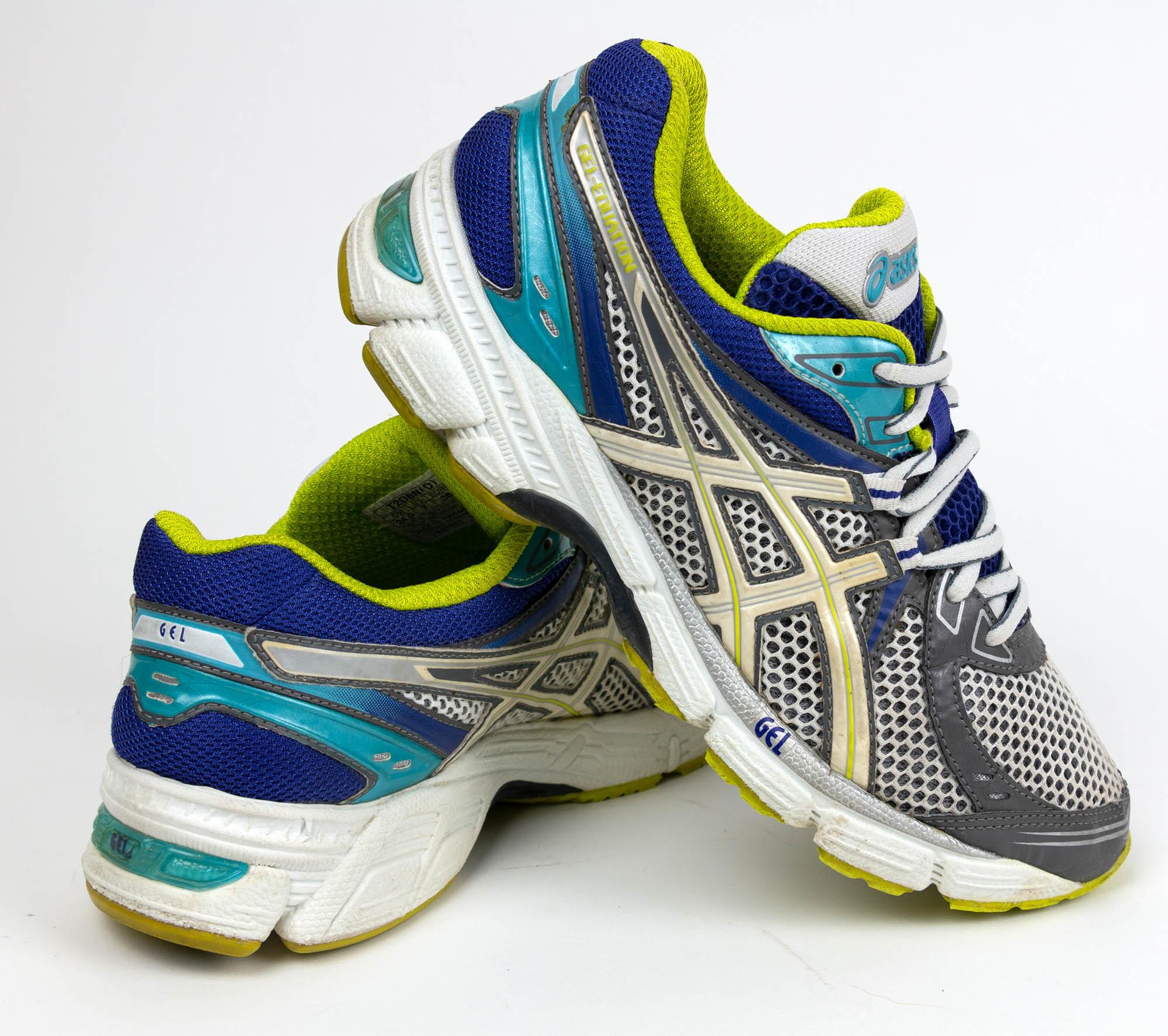 ASICS Women's Gel Equation Blue Lime White Running Shoes T2D8N(D ...