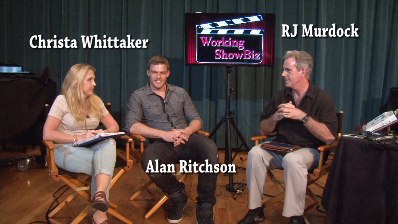 Christa Whittaker, Alan Ritchson, RJ Murdock on set of Working ShowBiz
