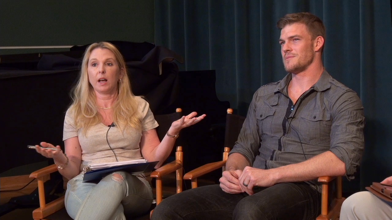 Christa Whittaker asks Alan Ritchson ShowBiz-related questions for her students