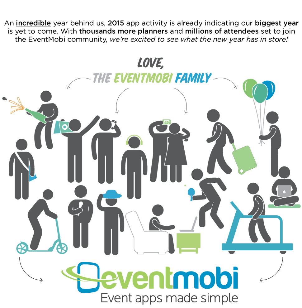 An incredible year behind us, 2015 app activity is already indicating our biggest year is yet to come. With thousands more planners and millions of attendees set to join the EventMobi Community, we're excited to see what the new year has in store!