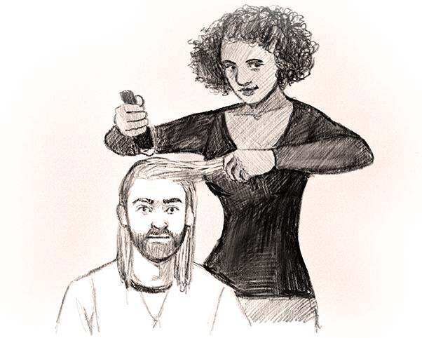 Cut his hair