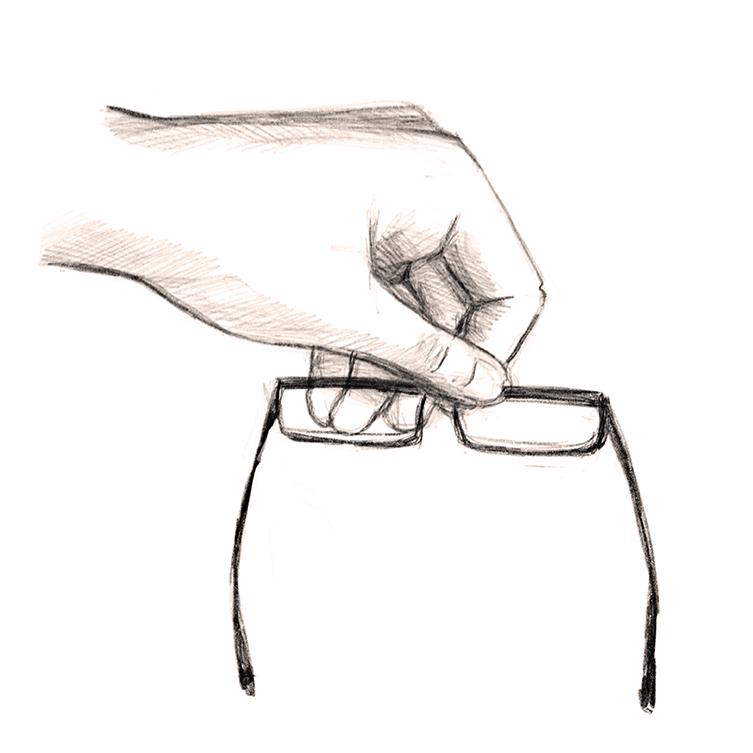 picking up glasses