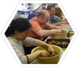 Volunteers processing archaeological finds