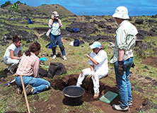 Research team at an archaeological dig site, Easter Island