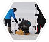 Climate change researchers in the arctic