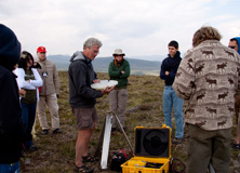 Dr. Peter Kershaw with a team of Earthwatch volunteers in the Canadian Arctic
