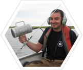 Research volunteer tracking terrapins in Barnegat Bay, New Jersey