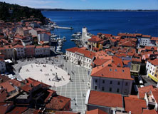 Piran, Slovenia on the Gulf of Piran on the Adriatic Sea.