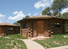 Navajo-style log cabins