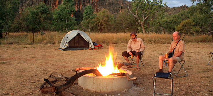 Earthwatch volunteers relaxing a campfire in The Kimberley, Australia