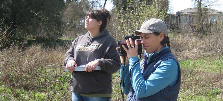 Volunteers in the field, recording habitat quality