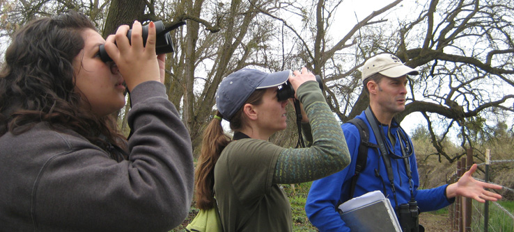 Earthwatch research team birdwatching in California, USA