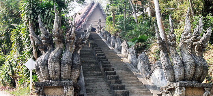 Many Thai temples feature staircases decorated with dragons.