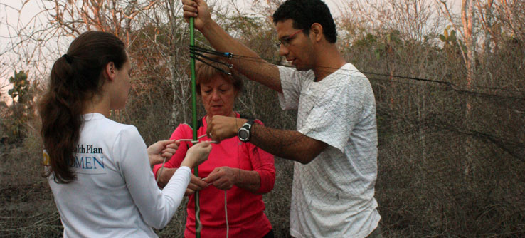 Lead scientist Dr. Luis De León teaches Earthwatchers to set up a mist net.