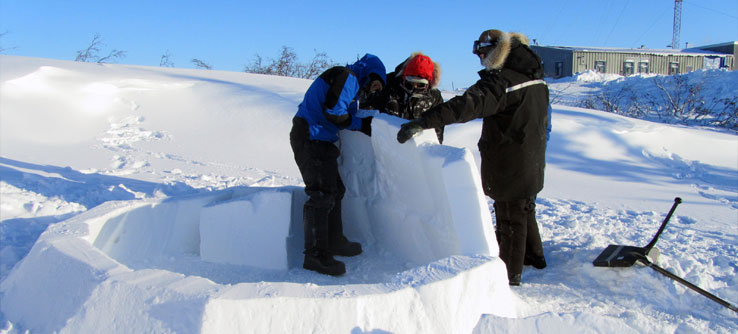In the winter, teams can try their hand at building an igloo.
