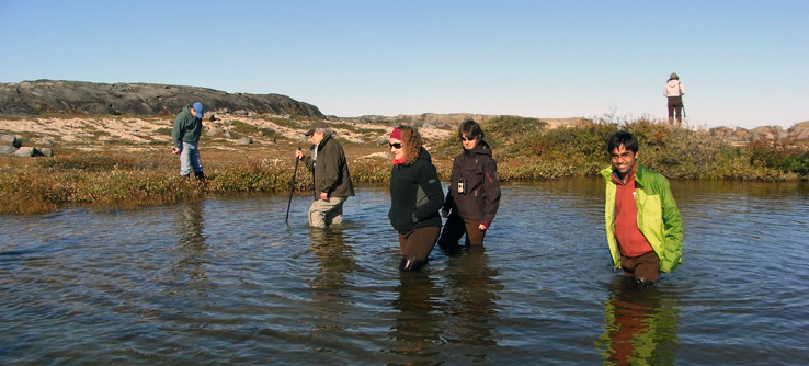 Teen Team members monitor fresh water near Churchill.