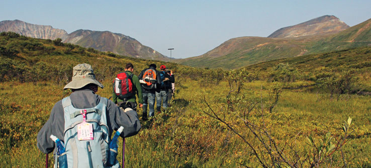 Volunteers trek the tundra to monitor permafrost.