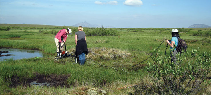 Volunteers use ground-penetrating radar to monitor the permafrost and the soil above it.