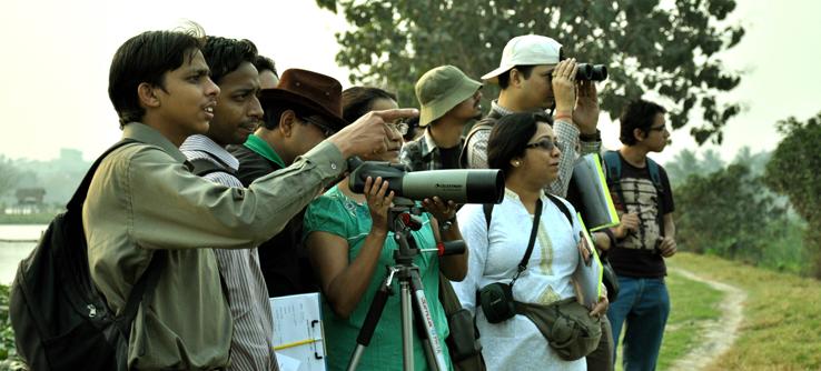 Volunteers engage on a wildlife survey in the Kolkata Wetlands