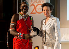 Daniel Letoiye receives a Whitely Award from the HRH The Princess Royal, Anne.
