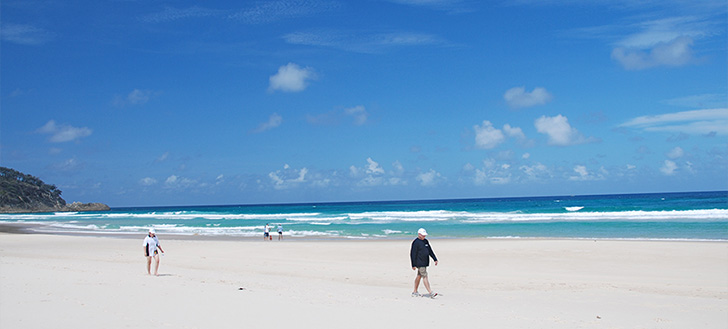 Enjoying the white beaches of Stradbroke island