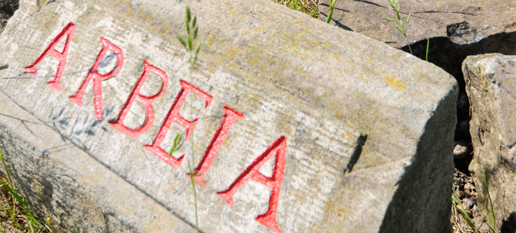 A stone marks the site of Fort Arbeia in South Shields, England.