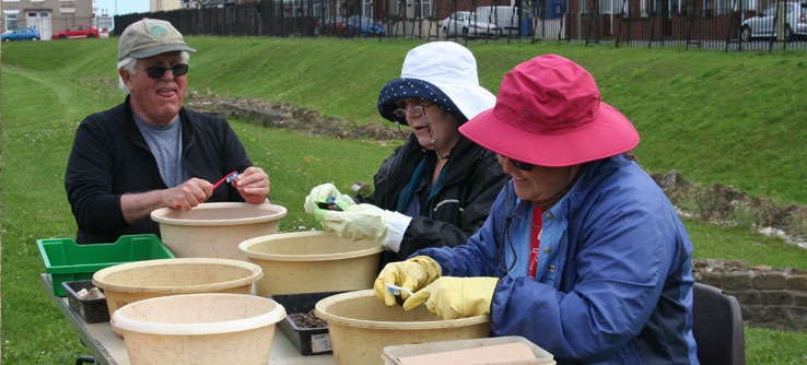 Volunteers sort bits of pottery, animal bones, and building materials.