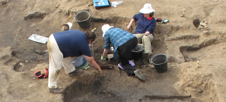 Excavations like this have uncovered coins, jewelry, and pottery.