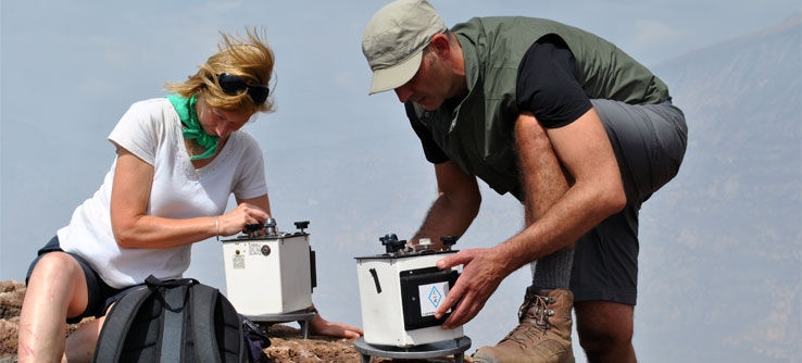 Volunteers take gravity readings to detect spikes in gas emissions.